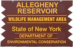 Allegheny Reservoir Brown Sign