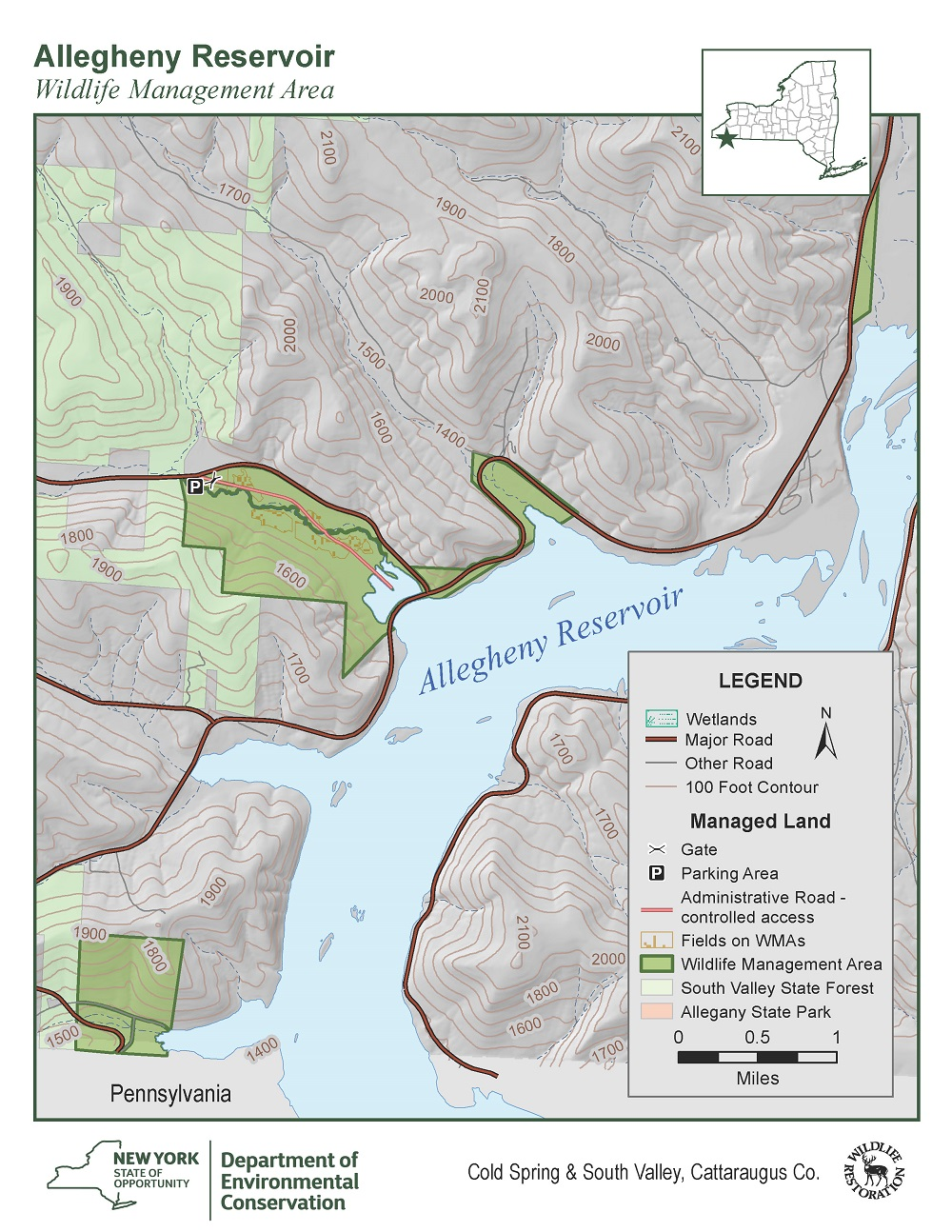 Map of Allegheny Reservoir Wildlife Management Area