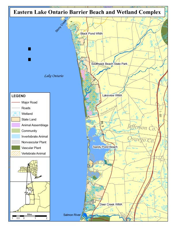 Map of Natural Heritage Area for Eastern Lake Ontario Barrier Beach ...