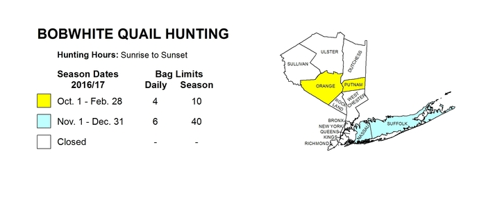 Map of downstate New York showing bobwhite quail hunting seasons for different areas