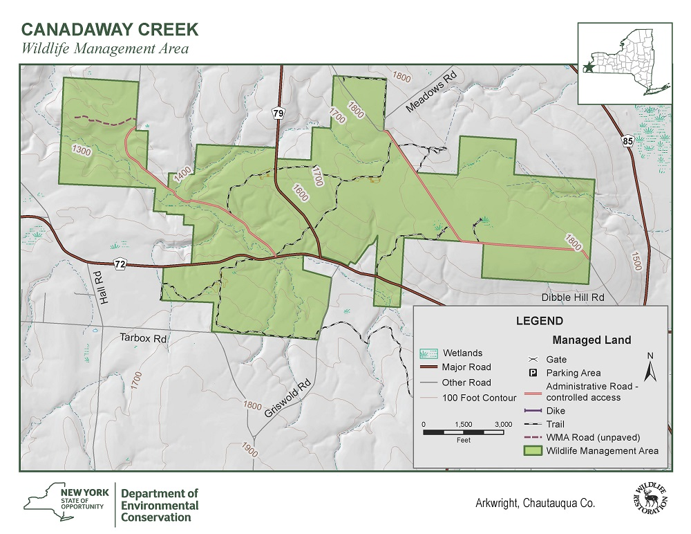 Map of Canadaway Creek WMA