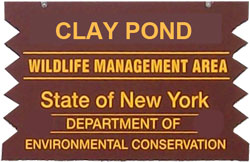 clay pond brown sign