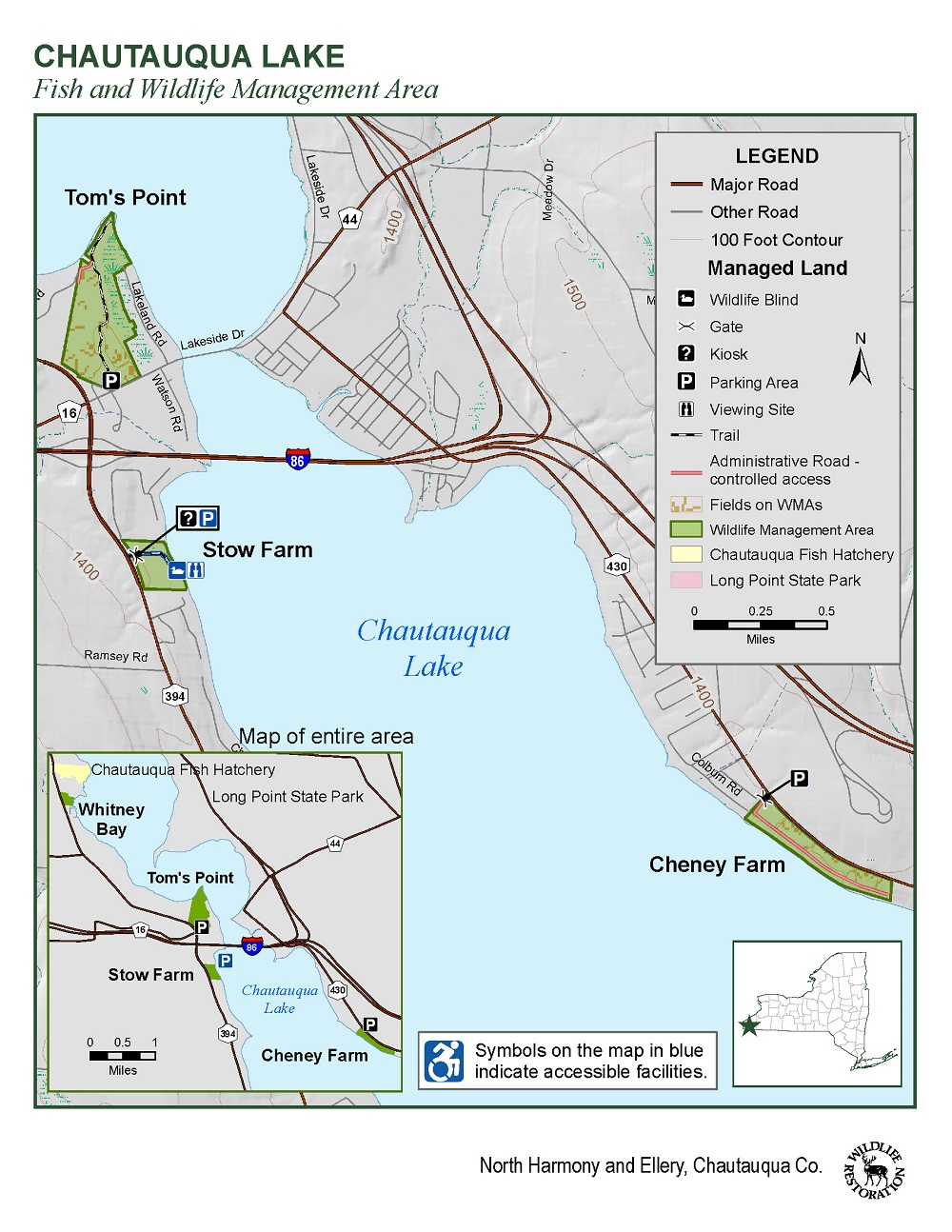 Map of Chautauqua Lake Fish and Wildlife Management Area