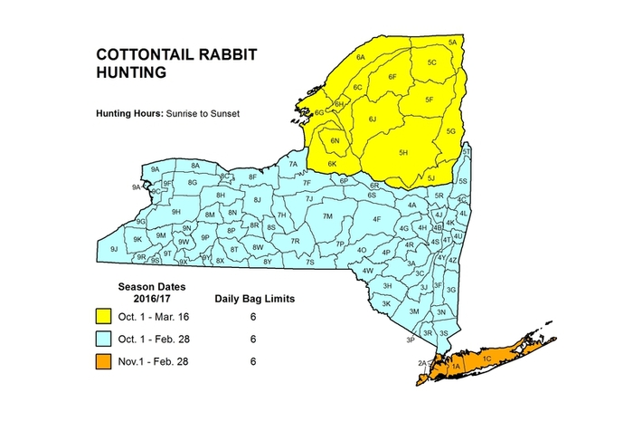 New York State map showing cottontail rabbit hunting season for different areas