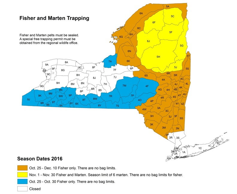 Fisher and Marten Trapping Seasons 2016