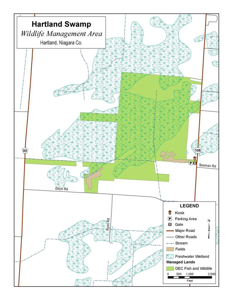 Map of Hartland Swamp WMA