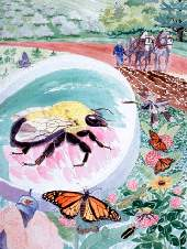 painting of monarch butterfly and large bee near flowers