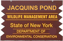 Jacquins Pond Brown Sign