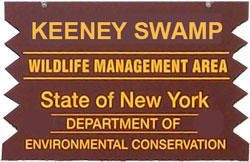 Keeney Swamp Brown Sign