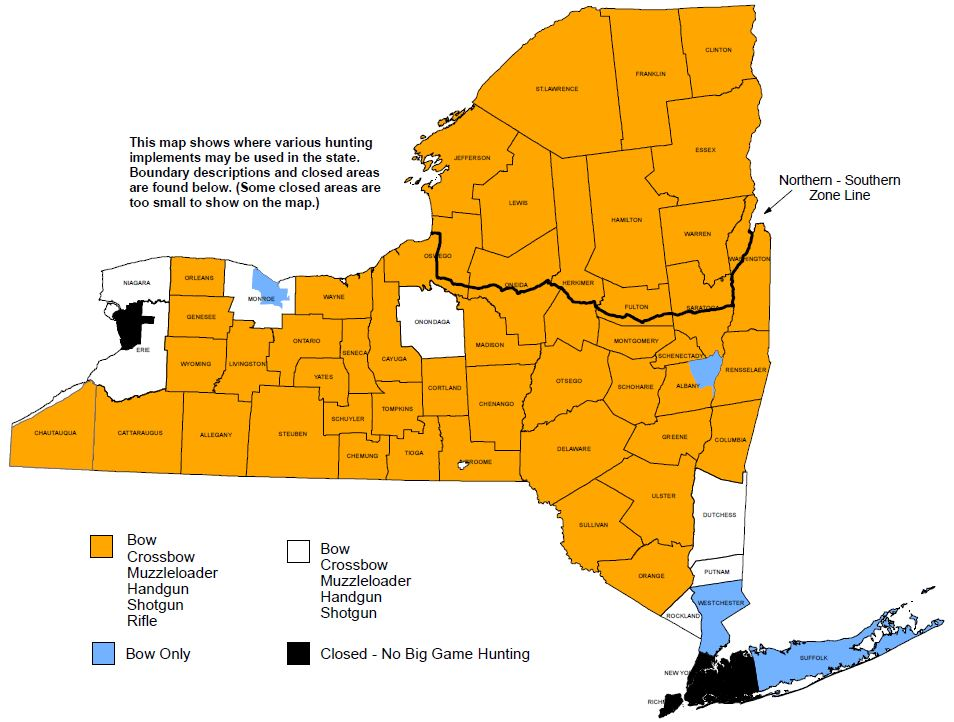 Map showing what hunting implement is legal in all areas of New York.