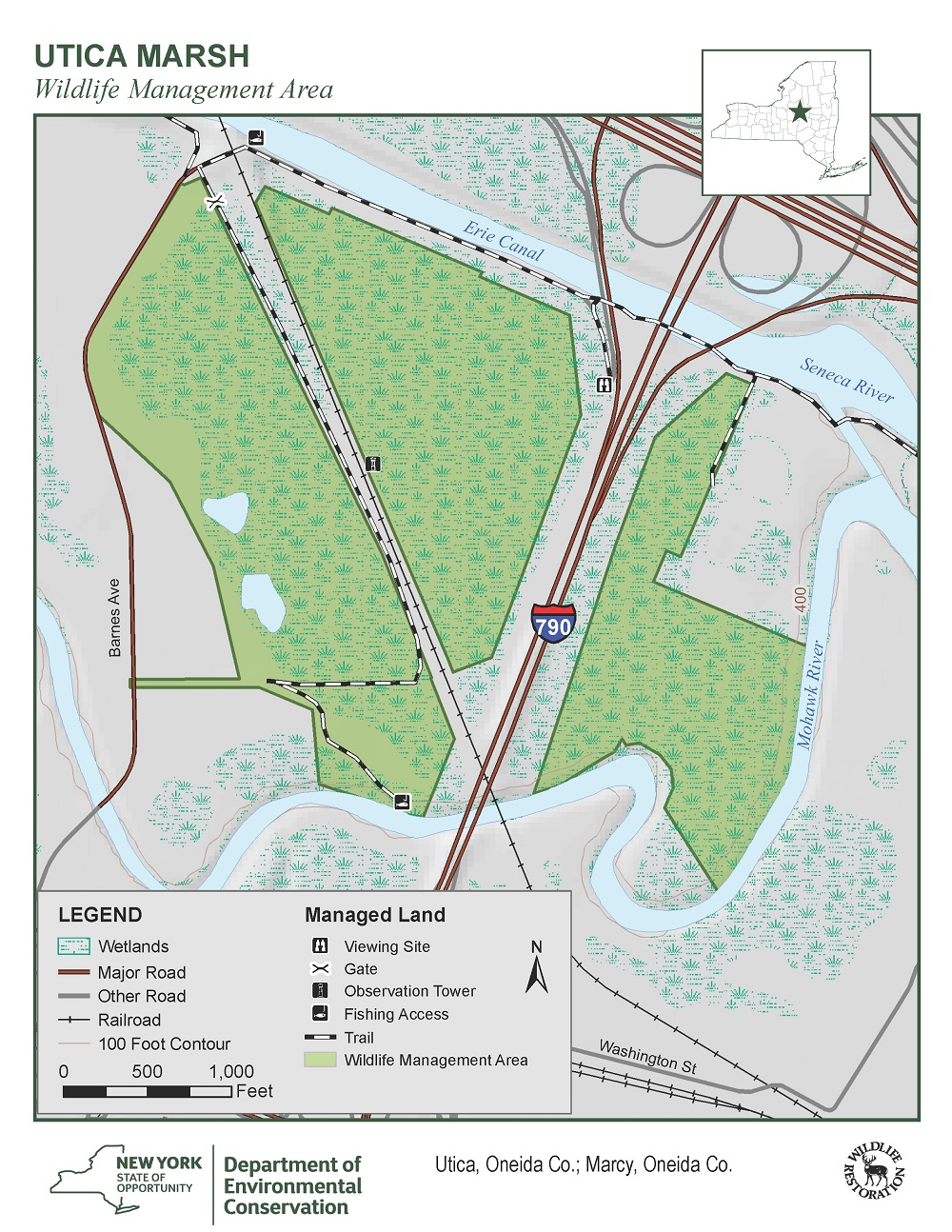 Map of Utica Marsh Wildlife Management Area