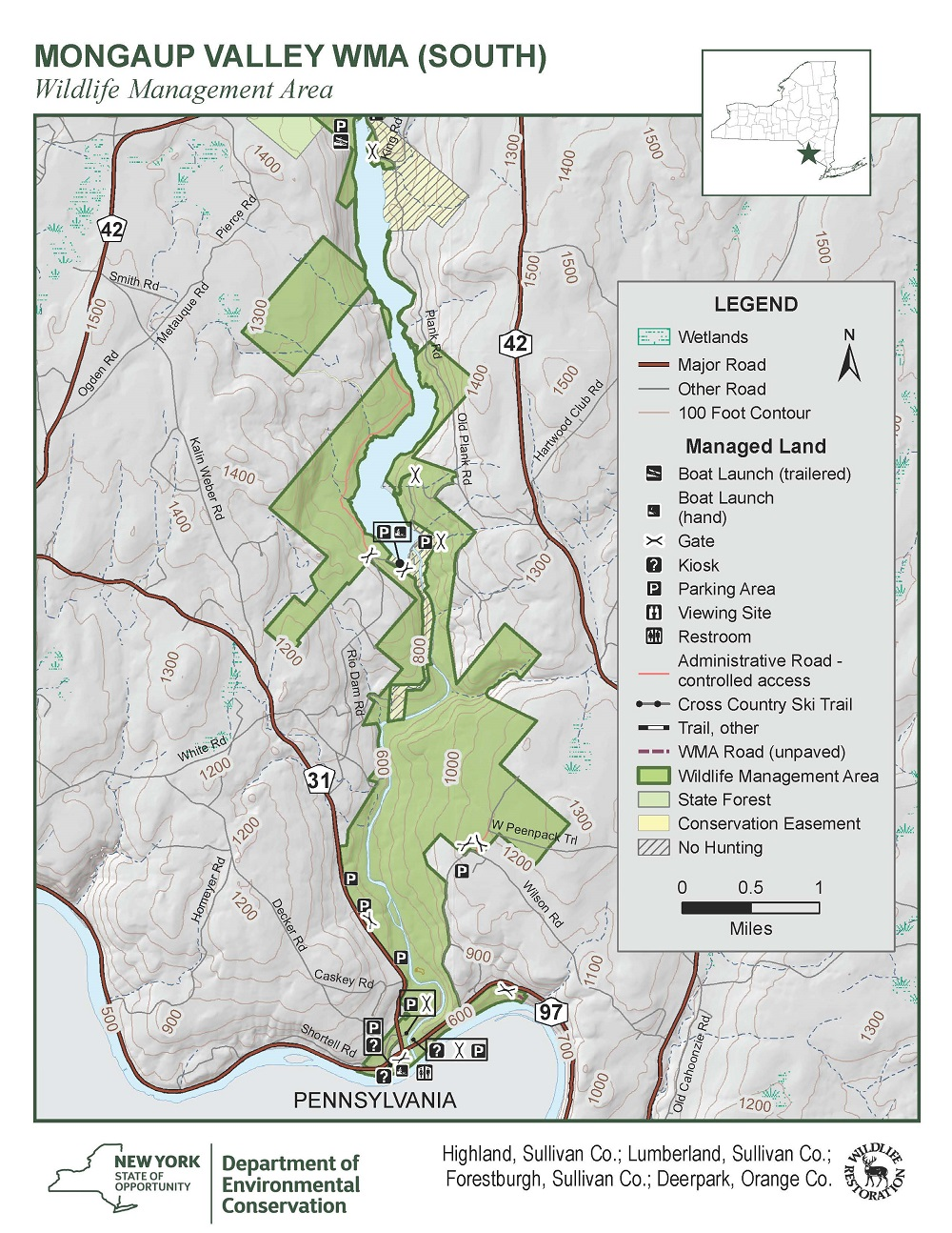 Mongaup Valley Wildlife Management Area Map (South)