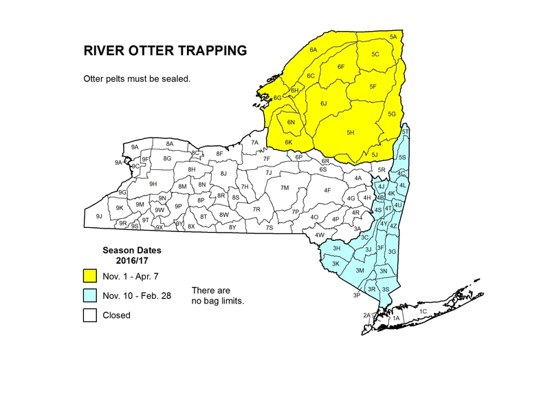 Map of NYS showing river otter trapping season dates.