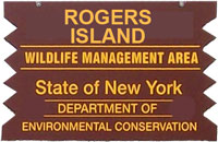 Rogers Island Brown Sign