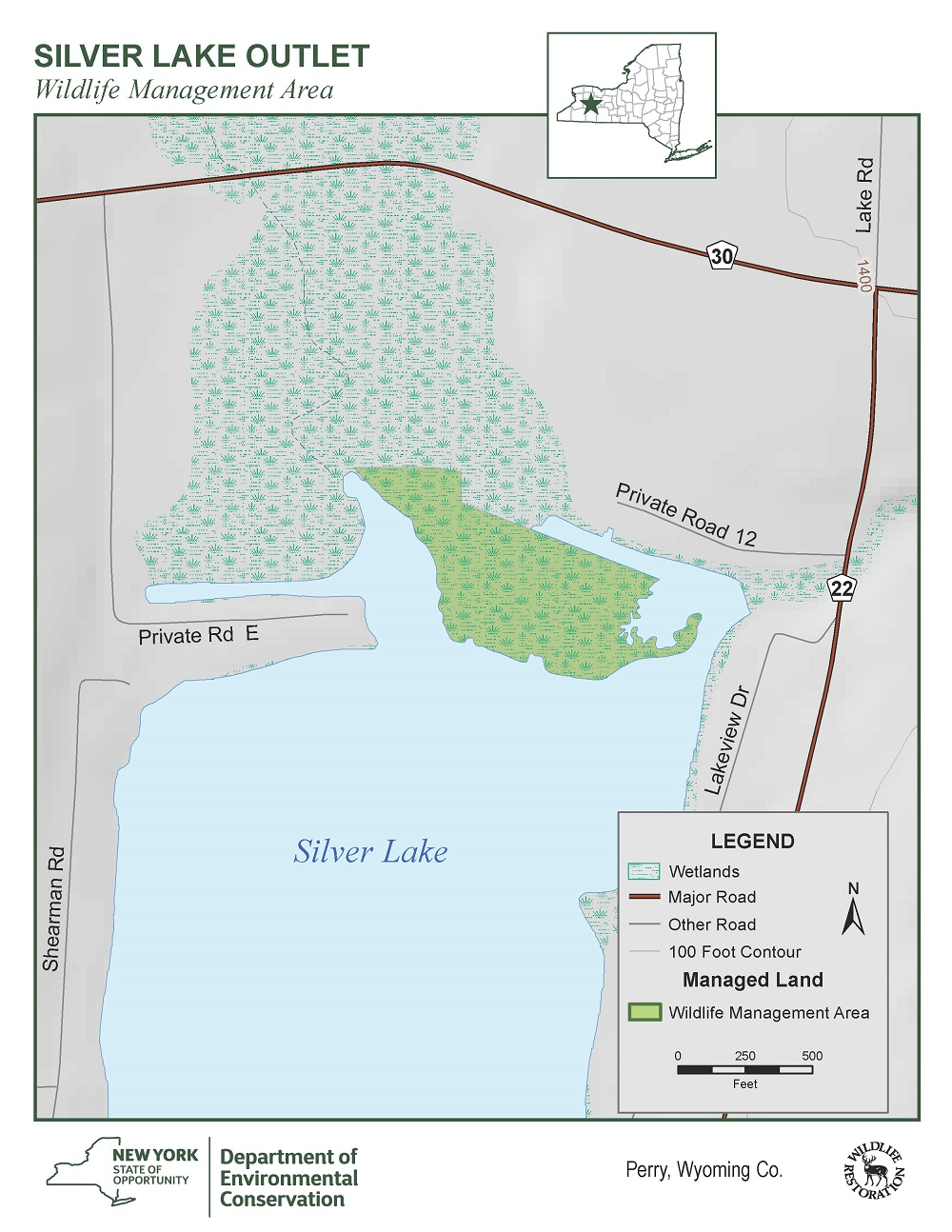 Map of Silver Lake Outlet WMA