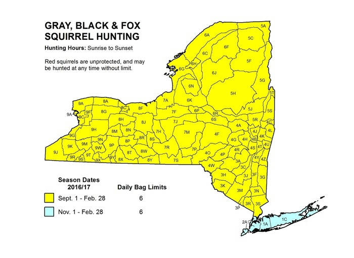 Map of New York State showing squirrel hunting season for NYC, Long Island and rest of the state