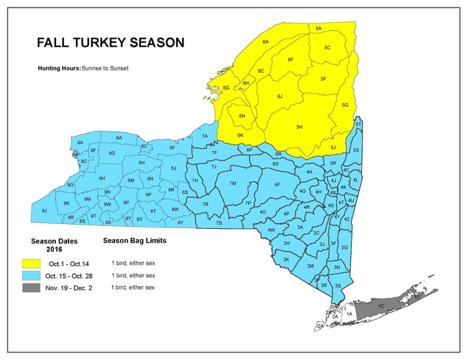 A map of the 2016-2017 turkey hunting seasons.